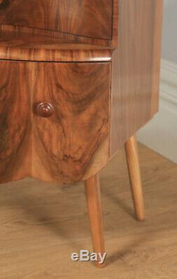 Antique English Art Deco Burr Walnut Bow Front Bedside Chest of Drawers c1930