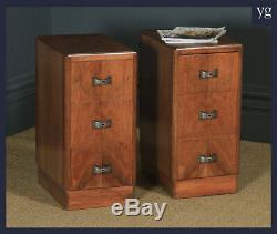 Antique English Pair Art Deco Walnut Bedside Chests Cabinets Nightstands Tables