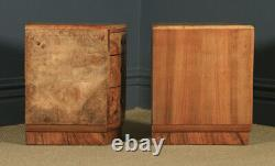 Antique English Pair of Art Deco Burr Walnut Bedside Chests Tables Nightstands