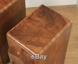 Antique English Pair of Art Deco Burr Walnut Serpentine Bedside Chests Cupboards