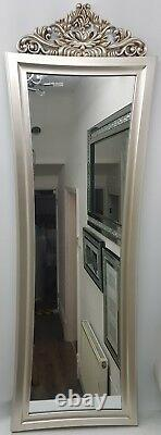 Antique French Design Full Length Princess Cheval Dressing Mirror Silver Gold