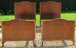 Antique Pair of Art Deco Burr Walnut Single 3ft wide Beds with Spring Bases