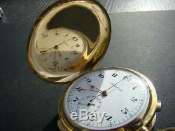 Antique Solid 18k Gold Full Hunter Quarter Repeater Chronograph Pocket Watch