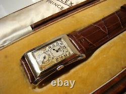 Antique Solid Gold Rare 1930 Rolex Prince Brancard 971U Original Box / Paper