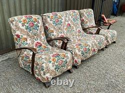 Antique art deco style oak framed three piece suite sofa two armchairs -Delivery