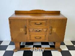 Antique arts & crafts deco style carved oak buffet sideboard -Delivery Available