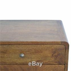 Aristan Range Art Deco Style Solid Wood Bedside Cabinet TableChestnut