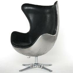 Arne Jacobsen Inspired Spitfire Egg Chair Aluminium Speical Black NEW