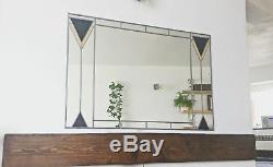 Art Deco 1 Stained glass leaded mirror. Large 91x61cm 3x2 FT