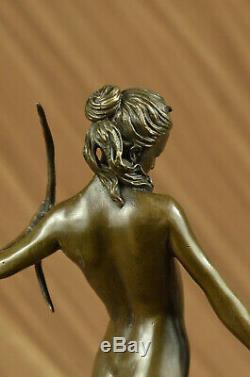 Art Deco 1920 Style Nude Diana the Huntress Dogs Bronze Statue Sculpture Figure