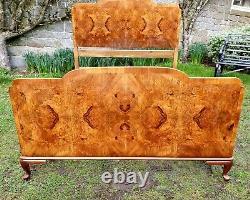Art Deco 1920's Burr Walnut Double Bed Frame