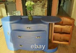 Art Deco 1940/50s Unique Sideboard, Cupboard, Drinks Cabinet. Napoleonic Blue