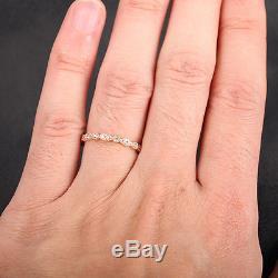Art Deco Antique Style. 32ct Diamond Milgrain 14K Rose Gold Wedding Band Ring