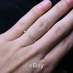 Art Deco Antique Style. 32ct Diamond Milgrain 14K Yellow Gold Wedding Band Ring