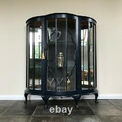 Art Deco Bow Fronted Glass Display Cabinet / Gin Cabinet in Little Greene Basalt