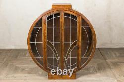 Art Deco Cabinet Round China Cabinet Glass Door Cupboard Circular Cupboard