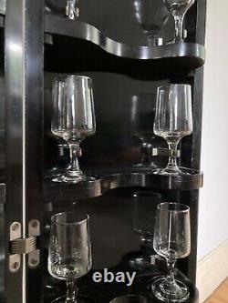 Art Deco Cocktail Drinks Cabinet Long Case Clock Vintage Black Chrome 1930s