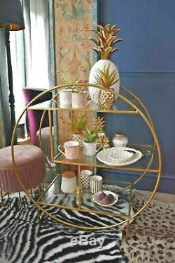 Art Deco Glam Gold Finished Drinks Trolley with 3 Glass Shelves on casters
