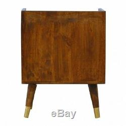 Art Deco Inspired Gold & Dark Wood Bedside Table Sunrise Printed Mid Century
