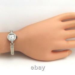Art Deco Platinum Diamond Waltham Ladies Wind Up Watch Wristwatch