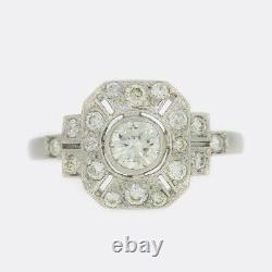 Art Deco Style 0.75 Carat Diamond Cluster Ring Platinum