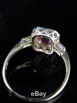 Art Deco Style 18ct Yellow Gold Natural Pink Sapphire And Eight Cut Diamond Ring
