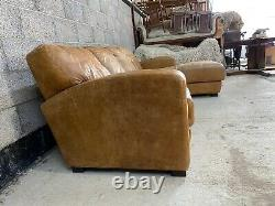 Art Deco Style Aged Tanned Brown Leather Chesterfield Right Hand Corner Sofa