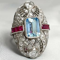 Art Deco Style Aquamarin And Ruby Ring Platinum With Natural Old Cut Diamonds