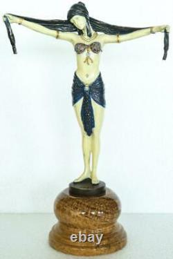 Art Deco Style Bronze Lady'Scarf Dancer' Signed DH Chiparus Hand Painted