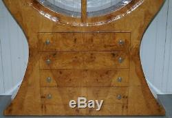 Art Deco Style Burr Elm Large Round Bookcase With Chest Of Drawers Lovely Timber