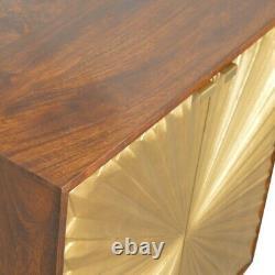 Art Deco Style Chestnut Wood & Brass Statement Side Board / Drinks Cabinet