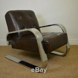 Excellent Art Deco Style Chrome Leather Lounge Chair Karl Em Weber Theyellowbook Wood Chair Design Ideas Theyellowbookinfo