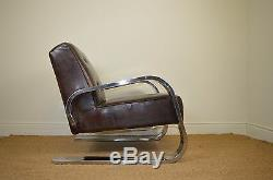 Art Deco Style Chrome & Leather Lounge Chair Karl EM Weber Design
