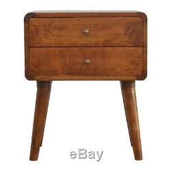 Art Deco Style Curved Edge Bedside Table Cabinet In Dark Wood Mid Century Legs
