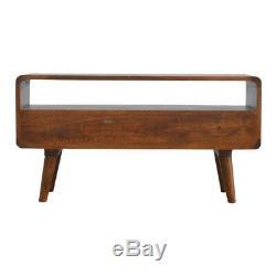 Art Deco Style Curved Edge Dark Wood TV Cabinet Media Unit With Mid Century Legs