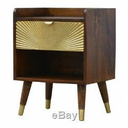 Art Deco Style Dark Wood Bedside Cabinet Table Gold Sunrise Carving Pattern Door