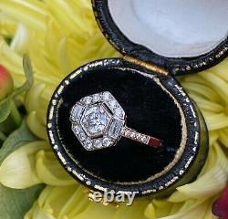 Art Deco Style Diamond Ring 0.85ct Platinum