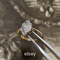 Art Deco Style Diamond ring 9ct yellow & White Gold Engagement Cluster ring UK L
