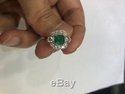 Art Deco Style Emerald Diamond Platinum Ring