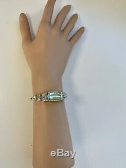 Art Deco Style Huge 21ct Aquamarine And Diamond Bracelet With Valuation $16,860