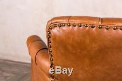 Art Deco Style Leather Armchair Small Tan Leather Armchair Occasional Chair