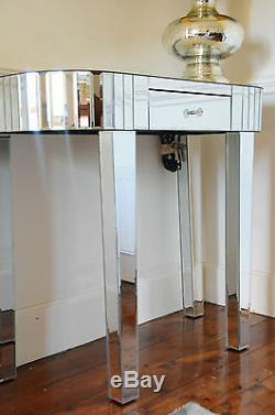 Art Deco Style Mirrored Console Table Dressing Table Silver Trim with One Drawer