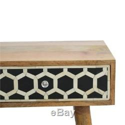 Art Deco Style Solid Wooden Desk / Console Table With Black + White Bone Inlay
