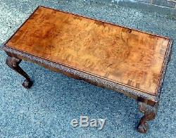 Art Deco antique Georgian type carved burr walnut oblong coffee occasional table