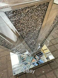 Art Deco mirrored silver crushed crystal mirror glass console table DEFECT