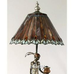 Art Deco/nouveau Table Lamp 76cm Charleston Lady Figurine Tiffany Style Shade