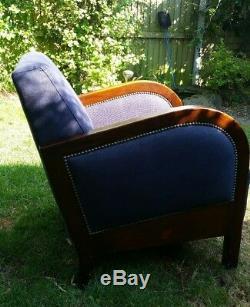 Art Deco style armchair. Navy fabric with dark wood