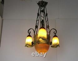 Art Nouveau Deco Style French Pate de Verre Wrought Iron Chandelier 4 Shades