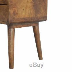 Artisan RangeArt Deco Style Dark Wood Bedside Cabinet Table 2 Drawer Chestnut