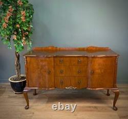 Attractive Large Vintage Queen Anne Walnut Serpentine Sideboard Cabinet